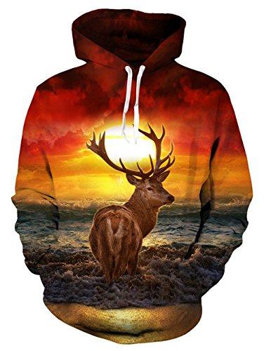 Loveternal Unisex 3D Elch Hoodies gedruckten Coole leichte Crewneck Pullover Kapuzen-Sweatshirts für Damen Herren L