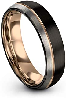 Midnight Rose Collection Tungsten Wedding Band Ring 6mm for Men Women 18k Rose Yellow Gold Plated Dome Off Set Line Black ...