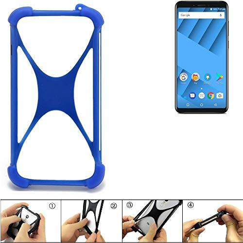 K-S-Trade® Handyhülle Für Vernee M6 Silikon Schutz Hülle Cover Case Bumper Silikoncase TPU Softcase Schutzhülle Smartphone Stoßschutz, Blau (1x),