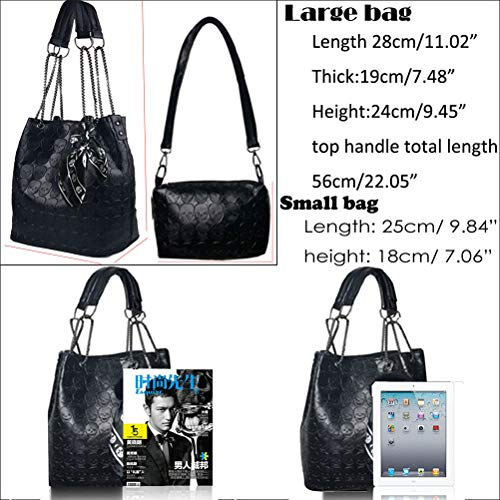 Abuyall Womens Skull Print PU Leather 2 in 1 Hobo Tote Punk Shoulder Crossbody Handbag Black steampunk buy now online