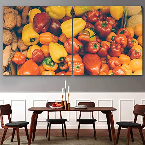 """bestdeal depot Fruits / Modern Art Multicolor Photography 2 Panel Canvas Wall Art Prints for Living Room,Bedroom Ready to Hang - 16""""x16"""" x 2 Panels"""