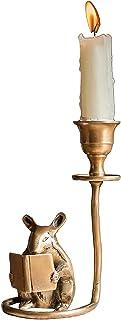 منضدية الهامستر حامل شمعة، الطراز الاوروبي صغير حاملي الشموع الشمعدانات النحاسية لتزيين طاولة طعام القهوة