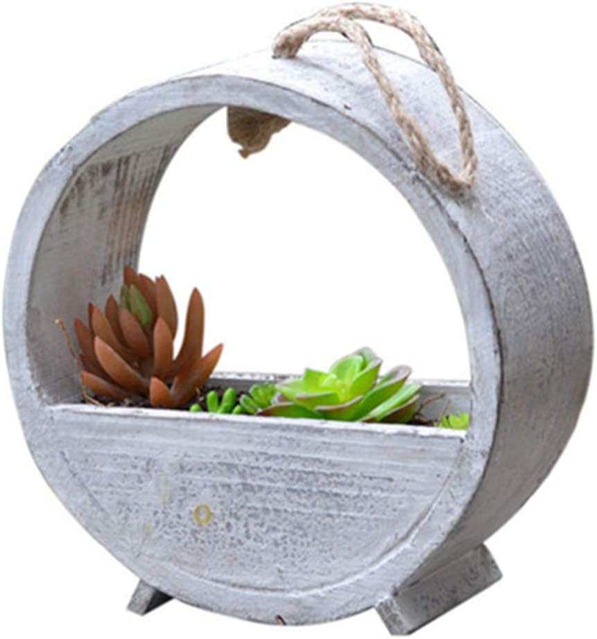 GYJ Vintage Wooden Hanging Round Ind Planter Outdoor Max Recommendation 87% OFF Pot Flower