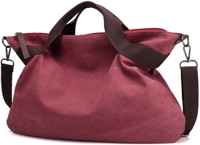 Qiusa Canvas Handtaschen Einfarbig beiläufige beiläufige beiläufige große kapazität Frauen Pendler Tasche Mode umhängetasche (Farbe   Lila) B07G5RWCYC  Auktion 2e0a13