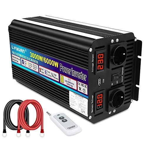 Wechselrichter 12V 230V 3000W /6000W Spannungswandler mit drahtloser Fernbedienung, 2 Steckdose 1 USB und LED-Display