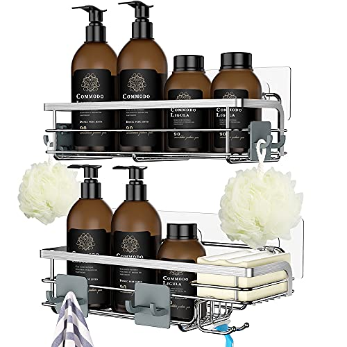 Nieifi Shower Caddy with Built-In Soap Dish with Hooks, Shower Shelf Organizer Basket Rack Storage Rustproof Adhesive Bathroom Shelves, Drill Free 2 Pack