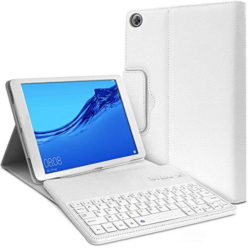 Karylax - Funda de protección con teclado Bluetooth para Huawei Mediapad M5 Lite de 10,1', color blanco