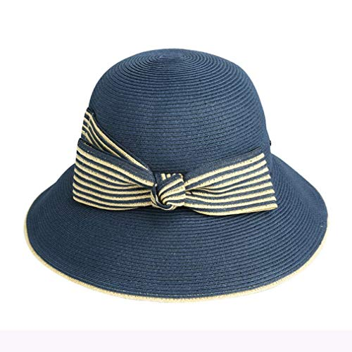 Chutd - Sombrero de verano para mujer, clásico, con rayas y lazo, ancho plegable, visera de protección UV para mujer, ajustable, 56-58 cm, color caqui azul azul marino