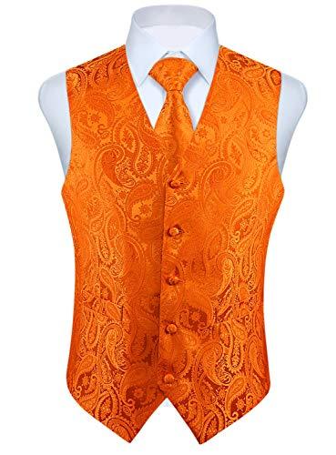 HISDERN Men's Paisley Floral Jacquard Waistcoat & Necktie and Pocket Square Vest Suit Set Wedding Party Orange