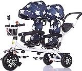Triciclos Triciclo triciclo carro de bebé carruaje bebé triciclo doble triciclo doble bebé bicicleta luz trolley gran cochecito extendido toldo almacenamiento cesta carro de bebé (color: b) (Color: c)