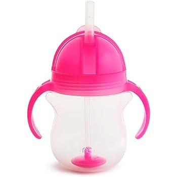 マンチキン(munchkin) ベビー用 ストローマグ (ハンドル付キャップ) 6ヵ月から お手入れ簡単 (ストローブラシ付) クリック・ウェイトストローマグ/ピンク FDMU10912