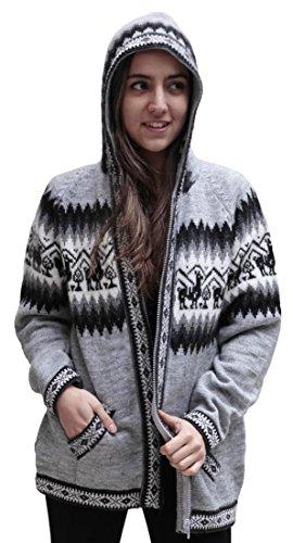 Little Llamas Hooded Alpaca Wool Knitted Jacket Hoodie Sweater (Large, Silver Gray)