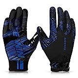 NICEWIN Football Gloves Adult Youth Kids Baseball Softball Biking Glove for Men Women Blue-Medium-Kids