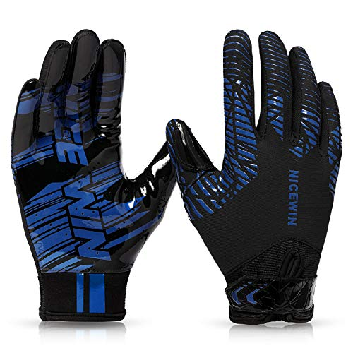 NICEWIN Football Gloves Youth Receiver Gloves for Kids, Blue1 Small
