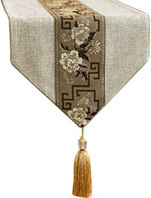 Amazon.com: Table Runner with Tassel, Blue and Brown Stripes ...