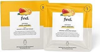 Marque Amazon - find. Masque hydrogel anti-âge pour les yeux au jus d'orange et à la mangue - Lot de 5