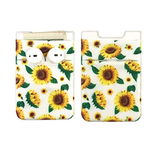 CalorMixs 2 Pack Phone Card Holder - Stretchy Lycra Wallet Pocket Fabric Adhesive Sleeve 3M Adhesive Sticker on iPhone Samsung Galaxy Android Smartphones (Sunflowers)