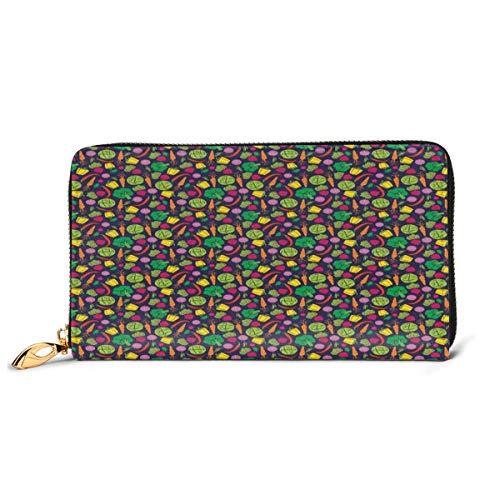 Women's Long Leather Card Holder Purse Zipper Buckle Elegant Clutch Wallet, Colorful Cartoon Pattern of Onion Carrot Broccoli Radish Cabbage Pepper,Sleek and Slim Travel Purse