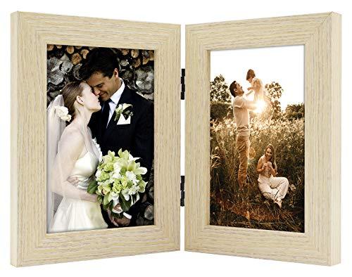 Golden State Art Dekorativer Bilderrahmen mit Klapptisch und 2 vertikalen Öffnungen aus Echtglas 4x6 beige