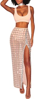 Womens Sleeveless Crop Top Glitter Sequin Mesh Side Split Maxi Skirt Set Bandage 2 Piece Dress Outfits