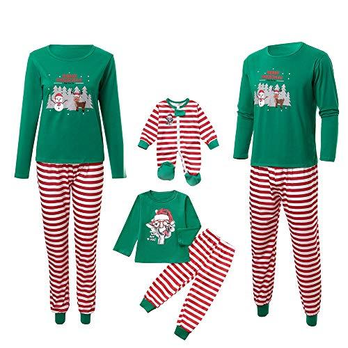Weihnachten Familie Schlafanzug Hirsch Druck Langarm Shirt und Streifen Hosen Pyjama Set Schlafanzüge für Damen Herren Kinder Baby Familien Bekleidung Nachtwäsche Outfits Zweiteiliger