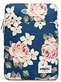 Kinmac Blue-Rose 360° Protective Canvas Vertical Style Waterproof Laptop Sleeve with Pocket (13 inch-13.5 inch)