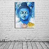 YuanMinglu Buda Lienzo Azul Pintura al óleo impresión Pintura Sala de Estar decoración del hogar Moderno Arte de la Pared Pintura al óleo Imagen salón Arte Pintura sin Marco 72x90cm