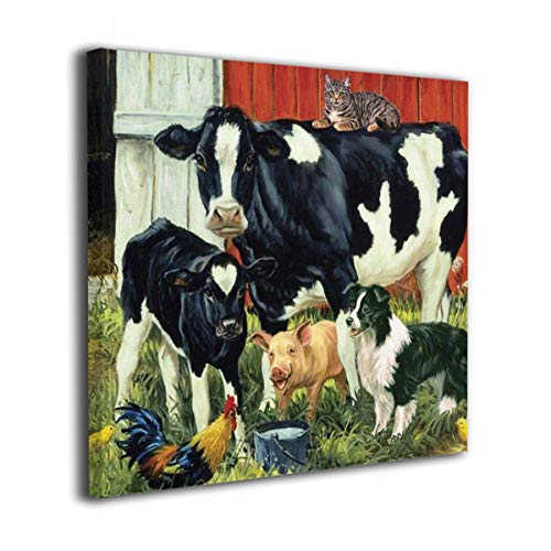 Harperson Canvas Prints Artwork Country Living Farm Animals Cow Pig Barn Rooster Dog Cat Calf Art Farmhouse Pictures Wall Decoration for Bathroom Living Room Bedroom Wall Decor Prints Art 20'x20'