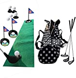 Golf Pro Set de juguete para niños pequeños, carnes, palos de golf, banderas, pelotas de práctica, deportes, juego de interior, golf, entrenamiento de 24 pulgadas, 17 piezas con mochila impermeable