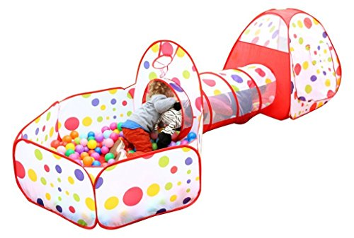 EocuSun Polka Dot 3 in 1 Folding Kids Play Tent with Tunnel, Ball Pit and Zippered Storage Bag [並行輸入品]