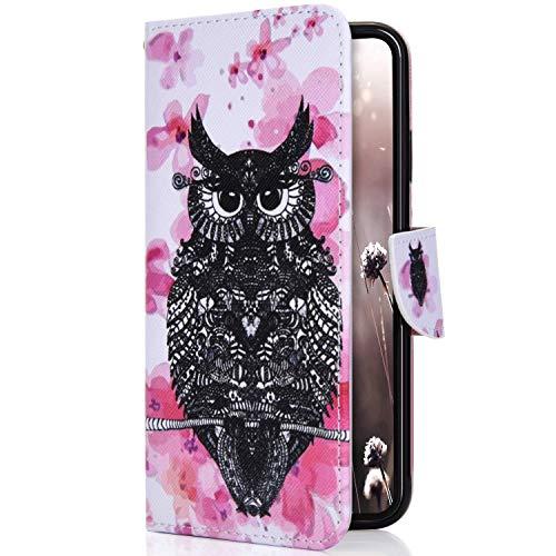 Uposao Kompatibel mit Handyhülle HTC One M10 Handytasche Niedlich Leder Handytasche Schutzhülle Flip Tasche Case Cover Ledertasche Lederhülle Bookstyle Klapphülle Hüllen mit Kartenfach,Eule