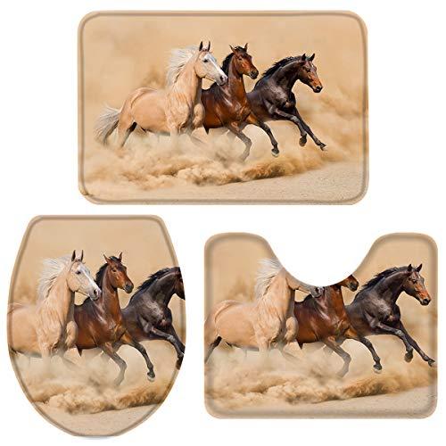 3 Pieces Bath Rug Set Toilet Seat Cover Runnning Horses Print Contour Rug, Pedestal Mat and Toilet Lid Cover,Non-Slip Bathroom Floor Mat S