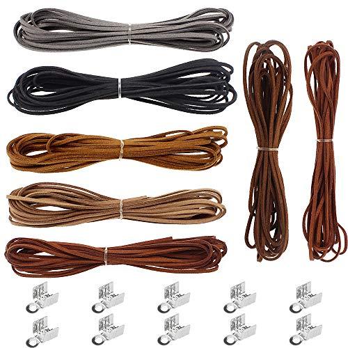 UBERMing 7 Piezas Cuerda de Gamuza Cuerda de Piel de Ante 5m Hilos de Gamuza Cordón de 100 Extremos de Cordón para Hacer Pulseras Collares