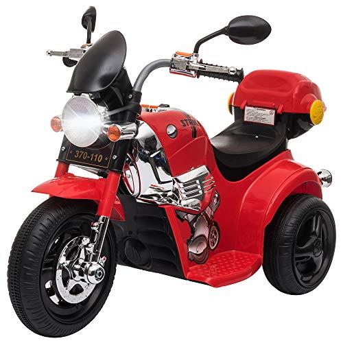 homcom Moto Elettrica per Bambini 18-36 Mesi con Luci, Suoni e 3 Ruote Stabili, Batteria Ricaricabile 6V, Rossa 87x46x54cm