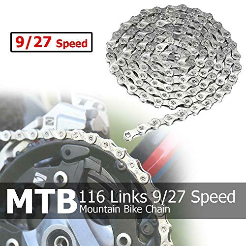 Lowest Prices! ZoeDul Bicycle Chain 116 Links 9/27 Speed MTB Mountain Bike Steel Chain Universal Fit