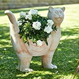 Terrakotta Gartenfigur: Katze zum Bepflanzen - Dekofigur für Außen - Statue/Skulptur - Garten Dekoration/Dekokatze/Katzenfigur (Höhe: 40cm)