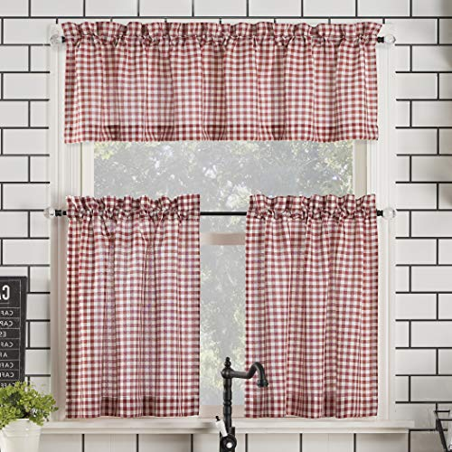 "No. 918 Parkham Farmhouse Plaid Semi-Sheer Rod Pocket Kitchen Curtain Valance and Tiers Set, 54"" x 24"" 3-Piece, Red/White"