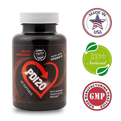 PD120 High Blood Pressure Supplement to Lower BP Naturally - Premium Cardiovascular Heart Health Supplements - CoQ10, Vitamin D, L-Theanine for Hypertension & Stress Reduction - 60 Softgels