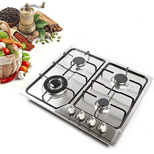 Cocina de gas con 4 zonas, acero inoxidable, para wok y gas natural