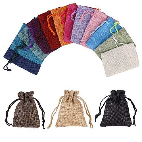 Jutesäckchen Baumwolle Säckchen mit Kordelzug, Klein Mehrfarbig Geschenk-säckchen für Schmuck Hochzeit Party Weihnachte DIY Handwerk, 15 Stück, 9x7cm