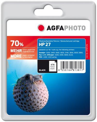 AgfaPhoto Tintenpatrone schwarz kompatibel zu HP27 (C8727AE) geeignet für HP HP PSC 1215