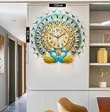 Relojes de Pared Reloj de Pared Peacock de Doble Cabeza de Cristal decoración del hogar Reloj de Cuarzo Creativo silencioso Adecuado para Vivir