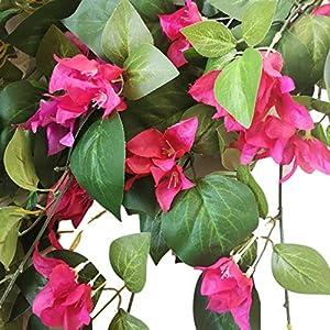 "Silk Flower Arrangements Lily Garden Silk Bougainvillea Vine Plant Artificial Flowers Cascade 34"" x2pcs (Magenta)"