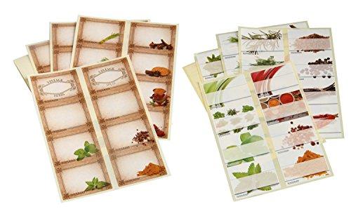Fackelmann Kräuter-/Gewürzetiketten, Aufkleber für Gläser und Dosen in zwei Designs - modern und nostalgisch (Farbe: Bunt), Menge: 64 Stück