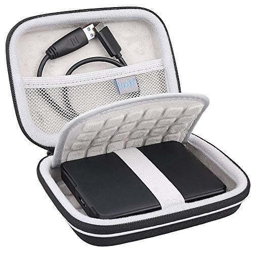 "Lacdo Externe Festplattentasche Schutz Hülle für Seagate Game Drive PS4, Seagate Expansion, Seagate Portable Drive, WD Elements My Passport 2,5"" HDD 1TB 2TB 3TB 4TB 5TB Stoßfest Tragbar Case, Schwarz"