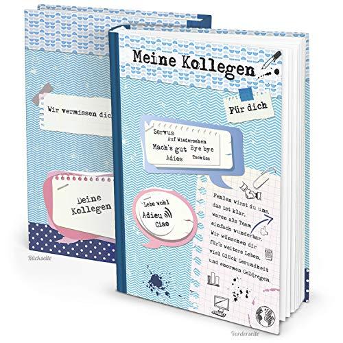 Logbuch-Verlag großes XXL Kollegenbuch DIN A4 blau weiß rosa zum Selberschreiben Abschiedsgeschenk Abschiedsbuch Erinnerungsalbum Kollege Kollegin