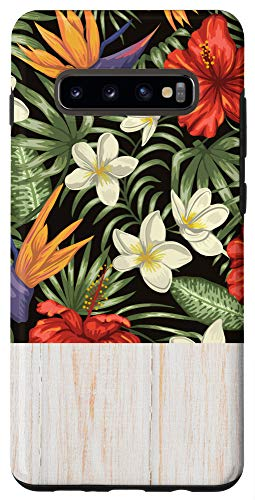Galaxy S10+ Tropical Retro Flower Wildflower Hibiscus Hawaii Floral Gift Case