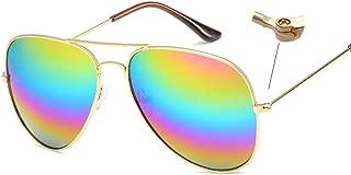 Vintage Mirrored Aviator Sunglasses for Women Men Reflective Lens Metal Frame