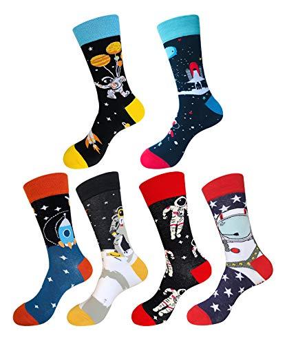 EmaoFun Calcetines divertidos para hombre, calcetines coloridos de algodón para vestir, para hombre, talla 39 - 46… (Astronauta)