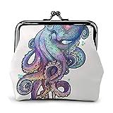 Octopus - Monedero Exquisito de Cuero para Mujer con Cierre de Beso, Monedero pequeño con Cambio, Estuches para Tarjetas de crédito, Mini Billetera, Bolsa para Llaves, 4.52 'X 4.13' Pulgadas